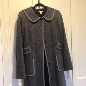 Halogen Tweed Peacoat with Light Blue Trim